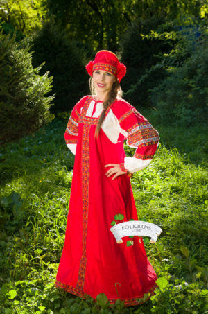 russian red dress sarafan