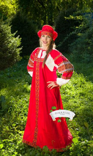 russian red dress sarafan