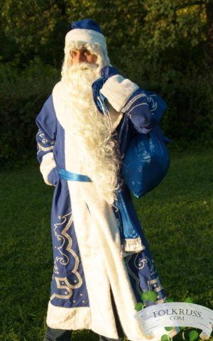 Christmas suit, Father frost wig, beard, bag, belt, gloves, coat, hat