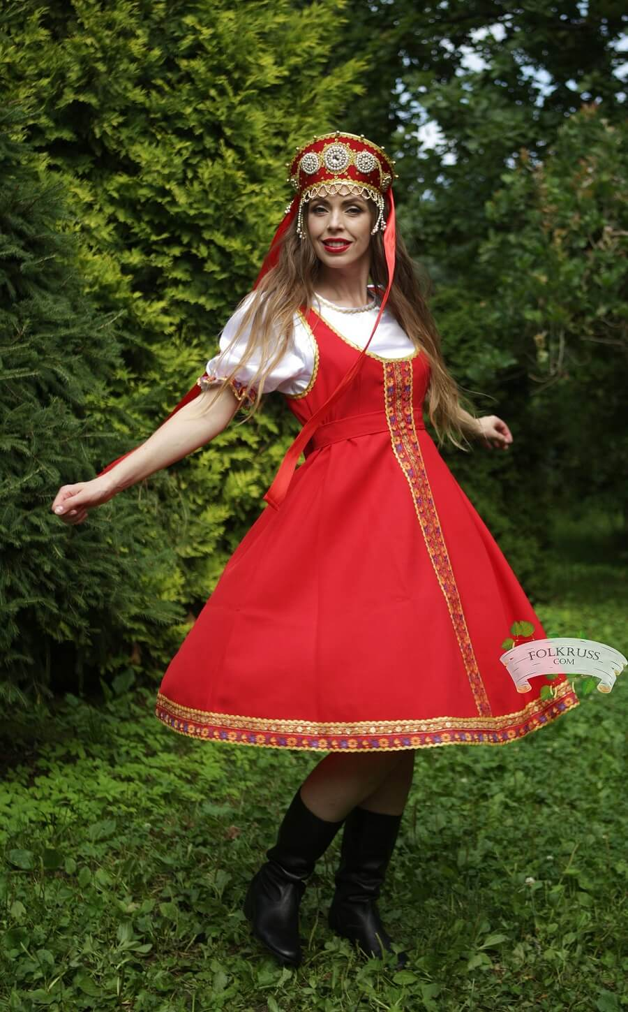 Playful Traditional Russian Dress For Woman Elena  Folk -8392