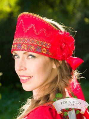 flowered hat, kokoshnik, russian headpiece